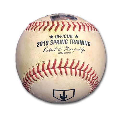 Photo of Game-Used Baseball -- Spring Training 2019 -- Jake Petricka to Jim Adduci, Single, Jake Petricka to Taylor Davis, Single, Jake Petricka to Johnny Field, Pitch in the Dirt, Bot 4 -- Brewers vs. Cubs -- 2/23/19