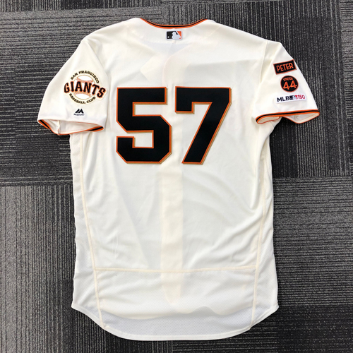 Photo of 2019 Game Used Home Opening Day Jersey worn by #57 Dereck Rodriguez on 4/5/19 vs. Tampa Bay Rays - 1st Career Opening Day Start - 5.1 IP, 5 K's - Size 46