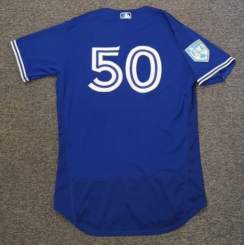 Photo of Authenticated Game Used 2019 Spring Training Jersey - #50 Justin Shafer (Mar 17: 1 IP, 1 Hit, 0 ER, 1 K. Winning Pitcher. Mar 25). Size 46