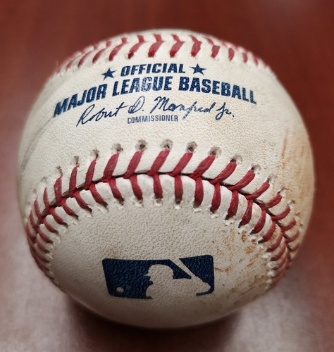 Photo of Authenticated Game Used Baseball - Single by Freddy Galvis against Brandon Workman (May 22, 19 vs BOS). Bottom 7
