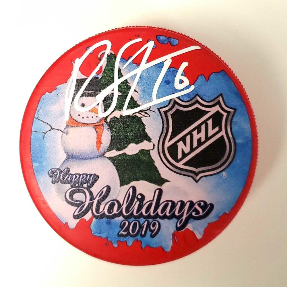 Ryan Strome New York Rangers Autographed Inglasco 2019 Happy Holidays Hockey Puck - NHL Auctions Exclusive