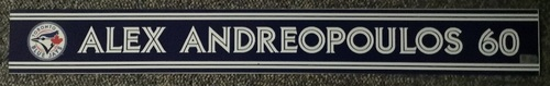 Photo of Authenticated Game Used Locker Name Plate - #60 Alex Andreopoulos (Sept 24, 18)