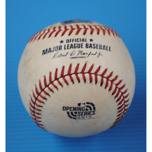 Photo of 2019 Japan Opening Series Game-Used Baseball: Batter - Marcus Semien, Pitcher - Zac Rosscup - Bottom of 11th, Single - 3/21/19
