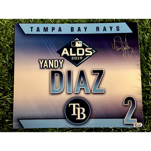 Photo of Game Used ALDS Autographed Locker Tag: Yandy Diaz - October 7, 2019 v HOU