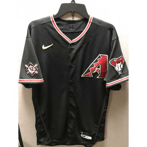 Photo of 2020 Carson Kelly Game-Used Jackie Robinson Day Jersey: 8/28/20 vs. Giants (Kelly went 1-4 with a Double and Run Scored. D-backs beat the Giants 7-4.)