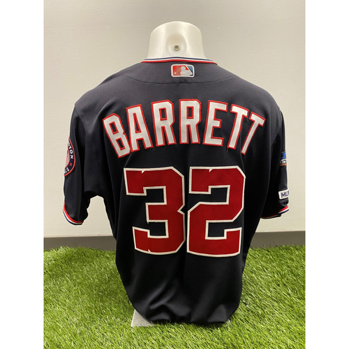 Photo of Team-Issued Aaron Barrett 2019 Navy Script Jersey with Postseason Patch