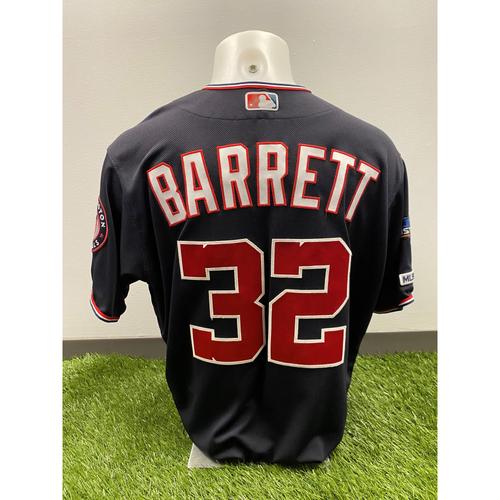 Team-Issued Aaron Barrett 2019 Navy Script Jersey with Postseason Patch