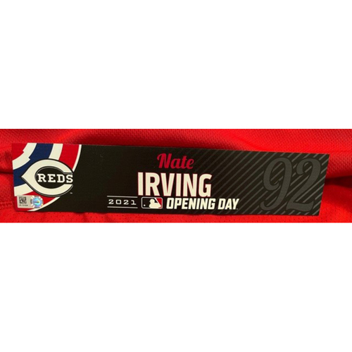 Photo of Nate Irving -- 2021 Opening Day Locker Tag -- Game-Used -- Cardinals vs. Reds on 4/1/21
