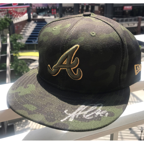 Photo of Ozzie Albies Autographed Memorial Day Camo Cap