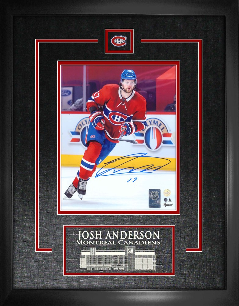 Josh Anderson Montreal Canadiens Signed Framed 8x10 Red Action Photo