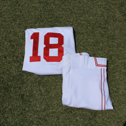 Photo of Game-Used & Autographed Monarchs Jersey & Game-Used Pants: Rusty Kuntz #18 (DET @ KC 5/23/21) - Size 46