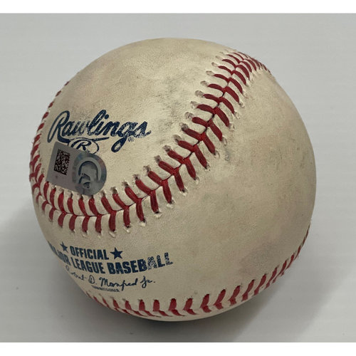 Photo of Game Used Baseball 7/10/2021 Royals at Indians - Bobby Bradley doubles (5) off Mike Minor