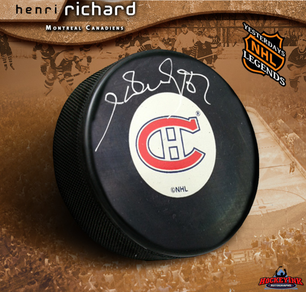HENRI RICHARD Signed Montreal Canadiens Puck