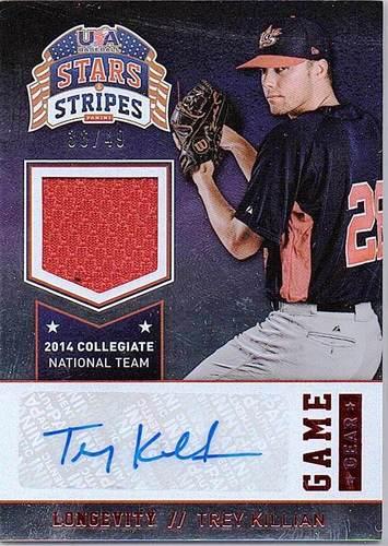 Photo of 2015 USA Baseball Stars and Stripes Game Gear Materials Signatures Longevity Ruby #95 Trey Killian/4
