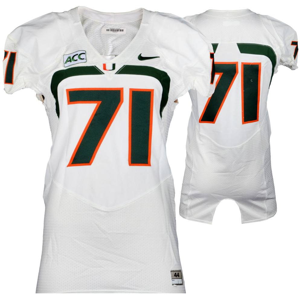 Miami Hurricanes Game-Used 2007 - 2013 Nike White Football Jersey #71