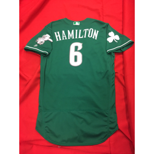 Billy Hamilton -- Game-Used Jersey -- 2017 St. Patrick's Day Jersey -- Indians vs. Reds on March 17, 2017