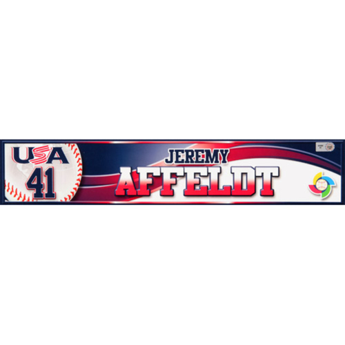 Photo of 2013 WBC: USA Game-Used Locker Name Plate - #41 Jeremy Affeldt