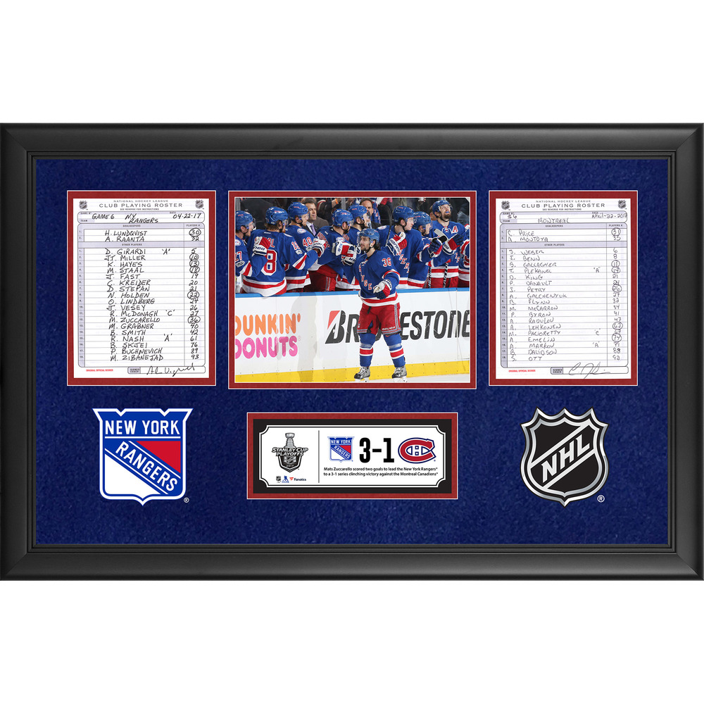New York Rangers Framed Game-Used Playoffs Game 6 Line-Up Cards, April 22, 2017 vs. Montreal Canadiens - Rangers Series Clinching Victory