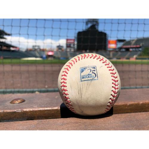 Photo of Colorado Rockies Game-Used Baseball - Shoehi Ohtani - Single to Blackmon - May 9, 2018 - Career Hit #20 - Hit Launch Speed: 106.58 MPH