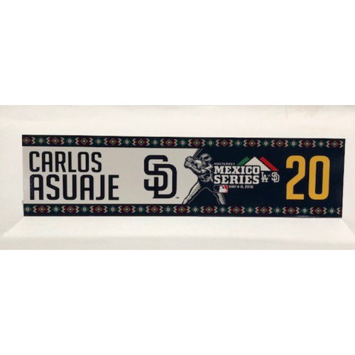 Photo of 2018 Mexico Series - Carlos Asuaje Game-Used Locker Tag