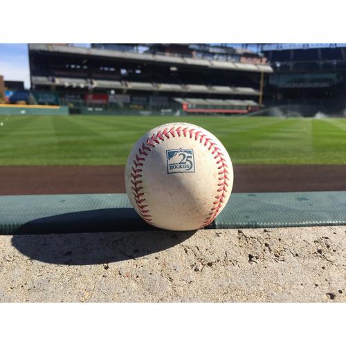 Photo of Colorado Rockies Game-Used Baseball - Tyler Anderson v. Trea Turner - Single to Story - September 30, 2018