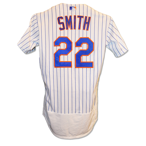 Photo of Dominic Smith #22 - Game Used White Pinstripe Jersey - 1-4, HR - Mets vs. Giants - 8/22/18