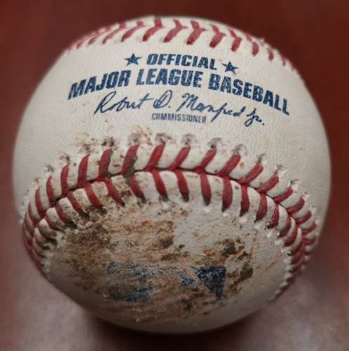 Photo of Authenticated Game Used Baseball - Walk by Mike Soroka to Yangervis Solarte (June 19, 2018 vs ATL). Bottom 1.