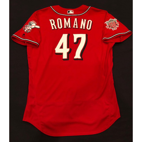 "Photo of Sal Romano -- Game-Used ""Los Rojos"" Jersey (Relief Pitcher: 1.0 IP, 0 H, 0 R) -- D-backs vs. Reds on 9/6/19 -- Jersey Size 48"