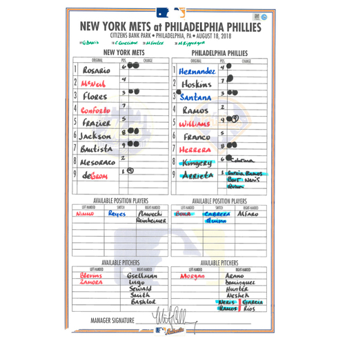 Photo of Game Used Lineup Card - deGrom Start, 9 IP, 0 ER, 9 K's, Earns 8th Win of 2018; Mets Win 3-1 - Mets vs. Phillies - 8/18/18