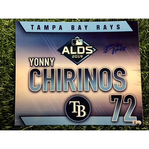Game Used ALDS Autographed Locker Tag: Yonny Chirinos  - October 7, 2019 v HOU