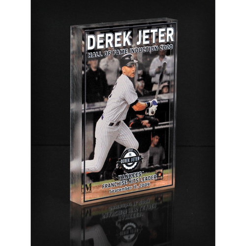 "Photo of MLB AUCTIONS EXCLUSIVE: Derek Jeter HOF ""Yankees Franchise Hits Leader"" Acrylic Block Collection #4 - Series of 7!"