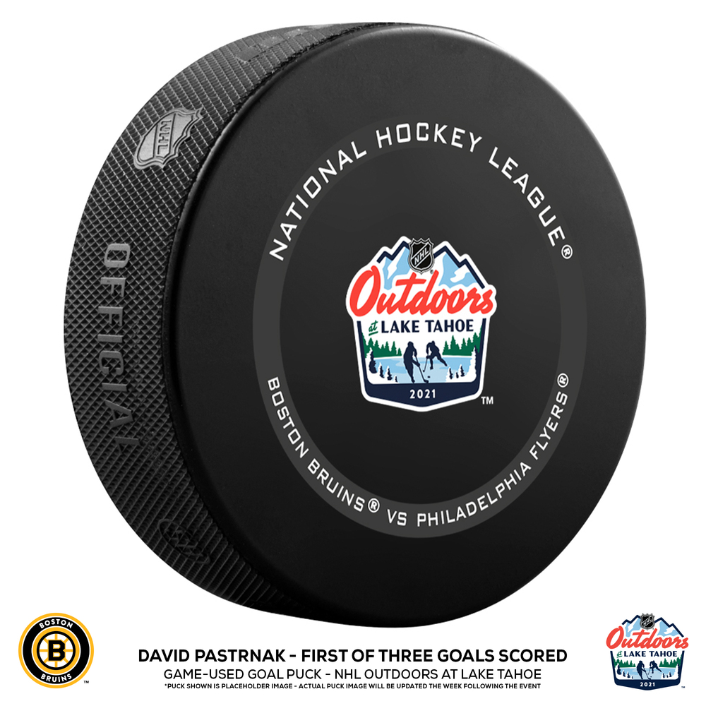 David Pastrnak Boston Bruins Game-Used Goal Puck from the NHL Outdoors at Lake Tahoe on February 21, 2021 vs. Philadelphia Flyers - First of Three Goals Scored