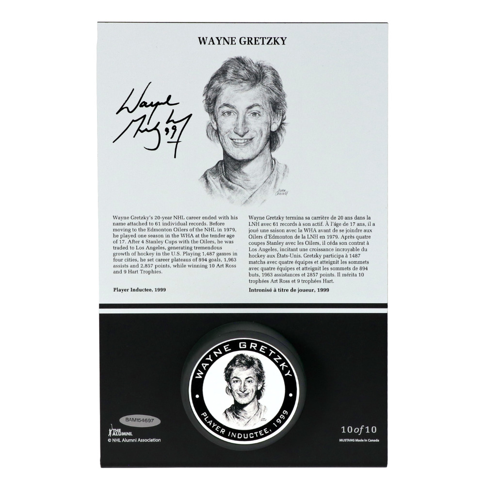Wayne Gretzky Autographed Legends Line Honoured Member Puck Stand - Limited Edition 5/10