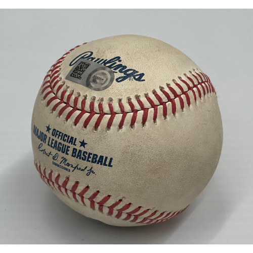 Photo of Game Used Baseball 7/22/2021 Rays at Indians - Yandy Diaz triples (1) off pitcher Cal Quantrill