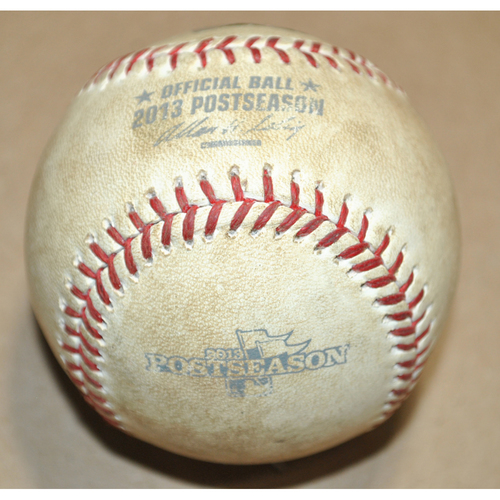 Photo of Game-Used Baseball - 2013 NLCS Game 5 - St. Louis Cardinals vs. Los Angeles Dodgers - Batter: David Freese, Pitcher: Zack Greinke, Groundout, Top 4