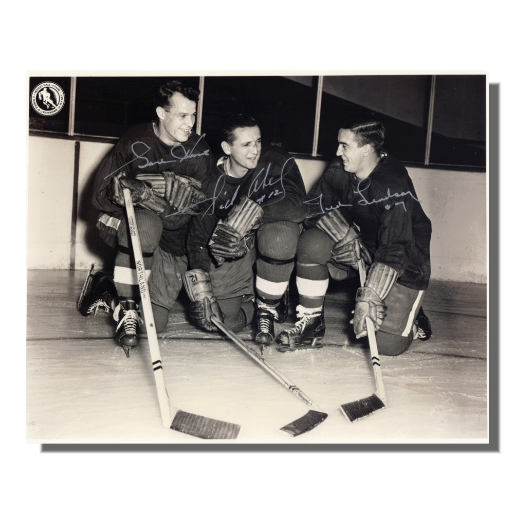 Gordie Howe, Sid Abel and Ted Lindsay Autographed Detroit Red Wings 8x10 Photo