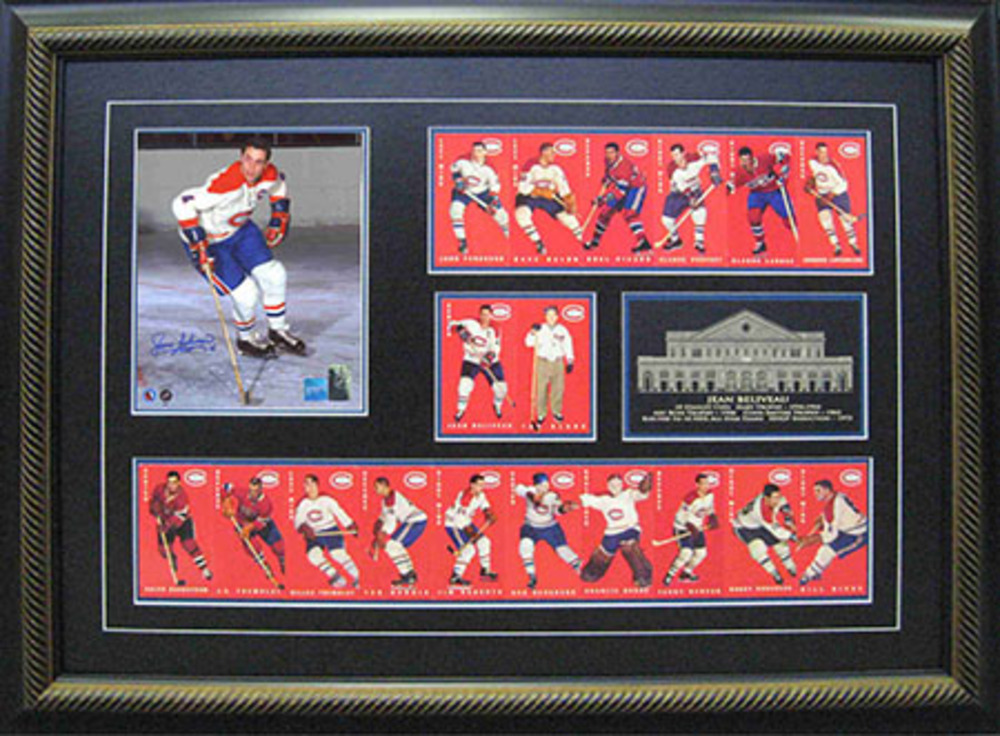 Jean Beliveau Signed 8x10 Canadiens With TallBoy Cards