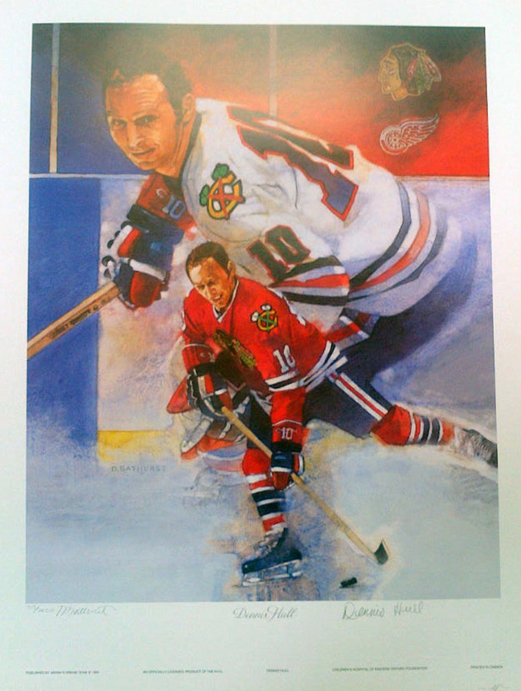 DENNIS HULL Autographed Chicago Blackhawks Limited Edition #/2000 20x25 Art Print