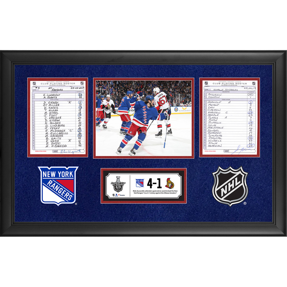 New York Rangers Framed Game-Used Playoffs Game 3 Line-Up Cards, May 2, 2017 vs. Ottawa Senators - Mats Zuccarello's Two-Point Game