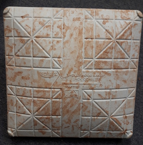 Photo of Authenticated Game Used Base - 2nd Base for Innings 1 to 3 vs Atlanta Braves (June 19 and 20, 2018; In place for Canadian Mike Soroka's 1st MLB start in Toronto)