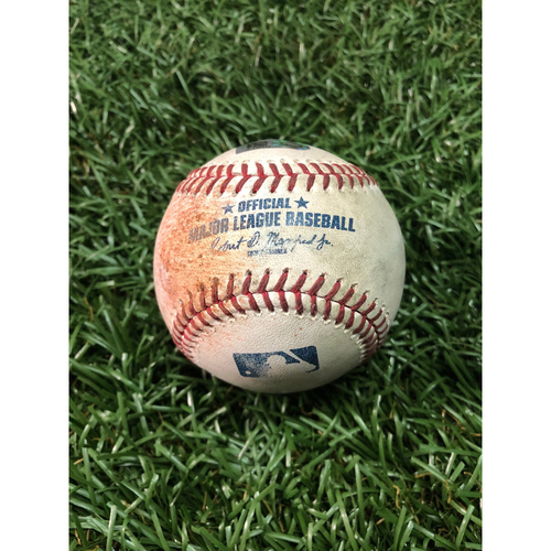 Photo of Game Used Baseball: Ehire Adrianza strikeout, Jonathan Schoop single, Jason Castro single, Byron Buxton RBI single off Chirinos - June 1, 2019 v MIN