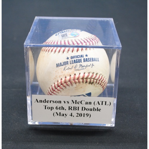 Photo of Game-Used Baseball: Nick Anderson vs Brian McCann (ATL), Top 6th, RBI Double - May 4, 2019