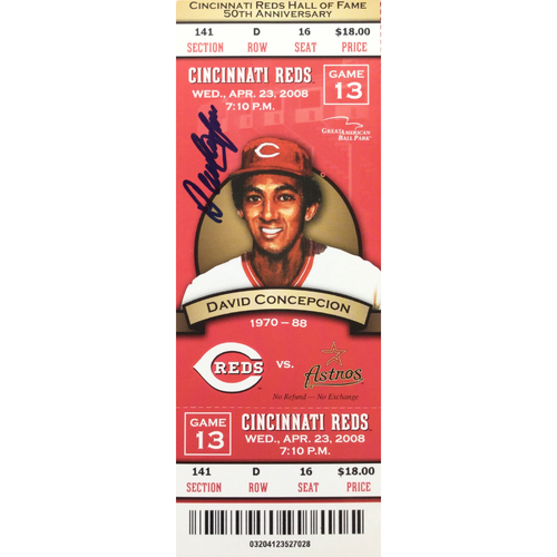 Photo of Dave Concepcion Signed Ticket