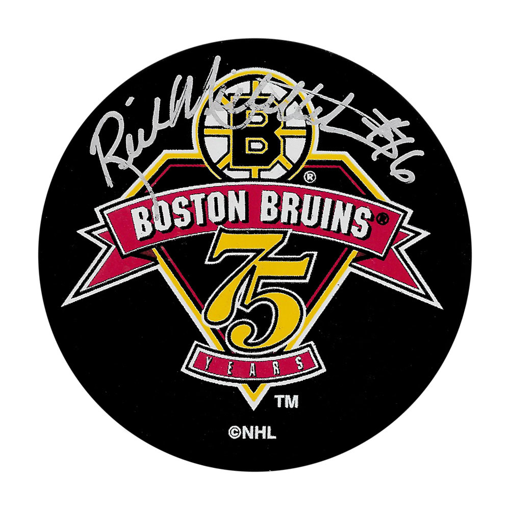 Rick Middleton Autographed Boston Bruins 75th Anniversary Puck