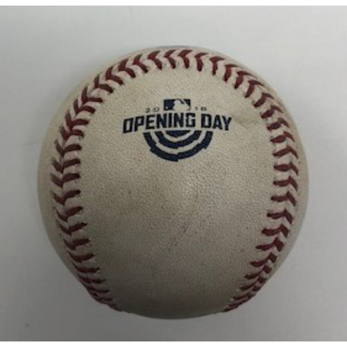 Photo of Game-Used Baseball from Opening Day 2018 - Pitcher - James Shields, Batters - Nicholas Castellanos/Victor Martinez - Single/Foul