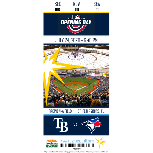 Photo of Rays Baseball Foundation: 2020 Opening Day Commemorative Ticket