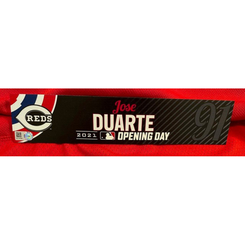 Photo of Jose Duarte -- 2021 Opening Day Locker Tag -- Game-Used -- Cardinals vs. Reds on 4/1/21