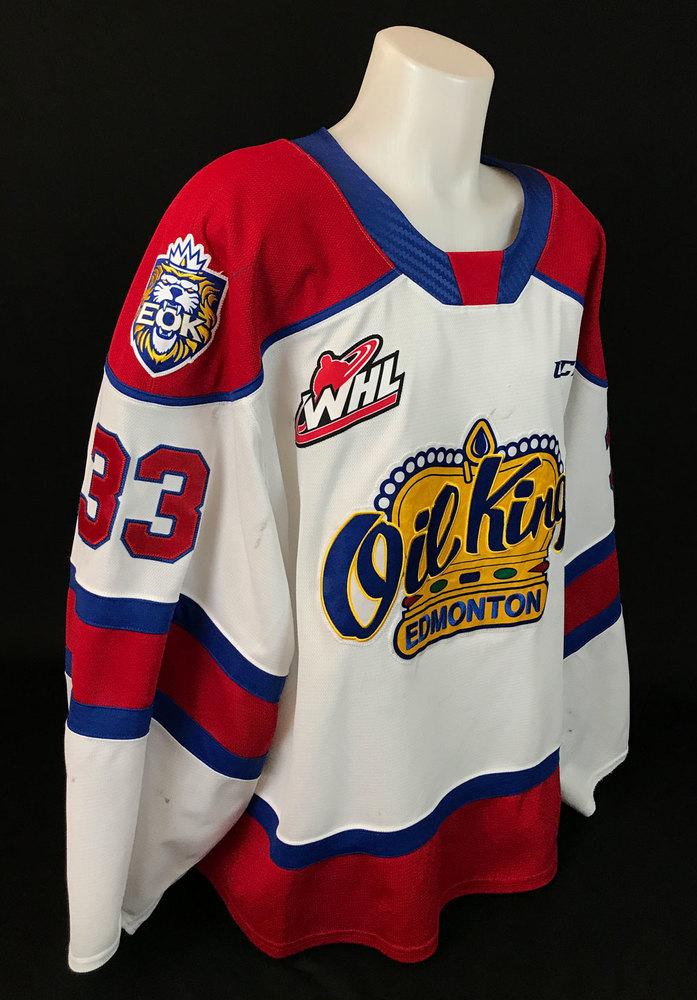 Sebastian Cossa #33 - Autographed 2019-20 Edmonton Oil Kings Game-Worn White Jersey