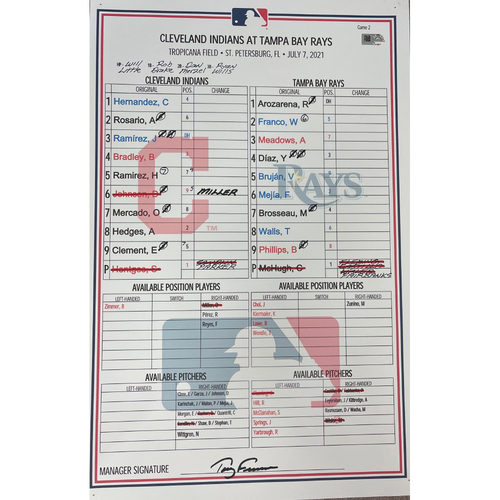 Photo of Game Used Line-Up Card - 7/7/2021 Indians at Rays (game 2) - Wander Franko Rookie Season