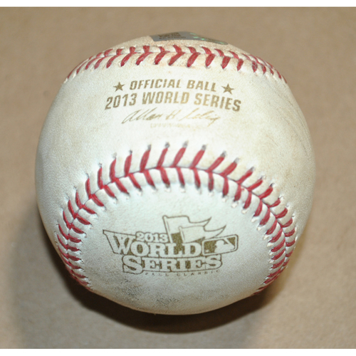 Photo of Game-Used Baseball - 2013 World Series Game 6 - St. Louis Cardinals vs. Boston Red Sox - Batter: Mike Napoli, Pitcher: Carlos Martinez, Foul Ball, Bot 6
